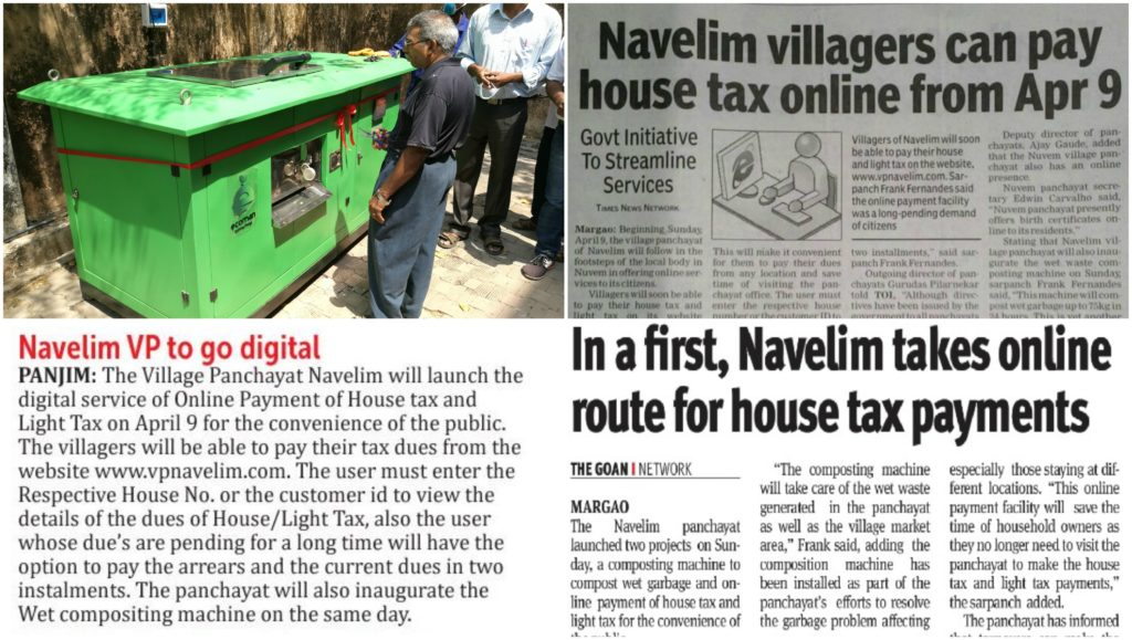 Launch of Online Payment Facility and Inauguration of Wet Composting Machine